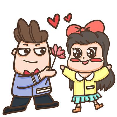 情人节卡通情侣插画