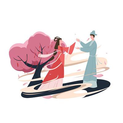 七夕古装情侣插画