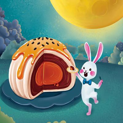 兔子中秋吃蛋黄酥插画