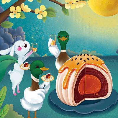 鸭子兔子共度中秋插画