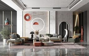 现代客厅沙发茶几组合模板