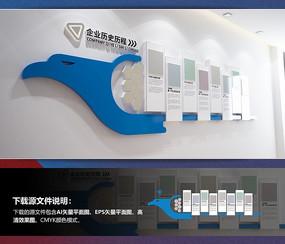 蓝色办公室企业历史文化墙