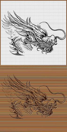 中国龙头侧面矢量图案