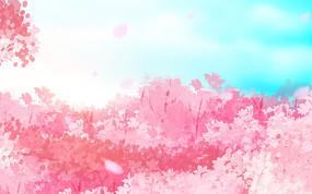 彩色粉色装饰樱花节卡通植物风景背景