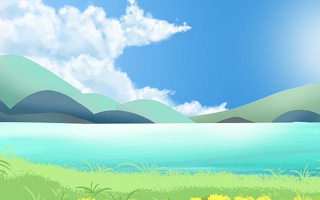 春夏山水油菜花绿色植物背景