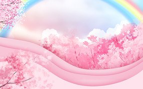 粉色樱花桃花节装饰卡通植物风景背景