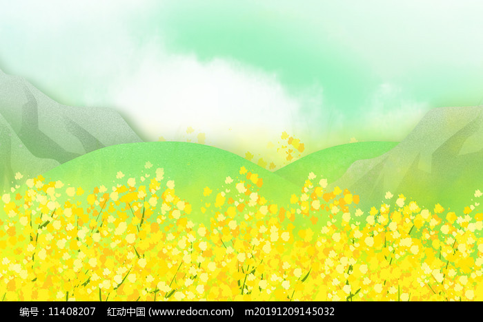 黄色装饰金色油菜花背景图片