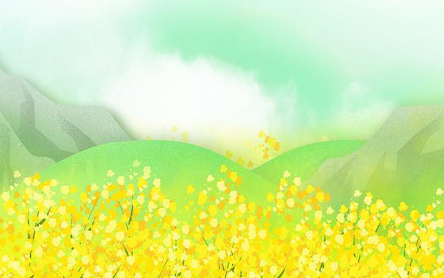 黄色装饰金色油菜花背景