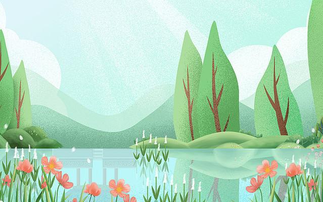 卡通插画植物装饰河流渐变背景
