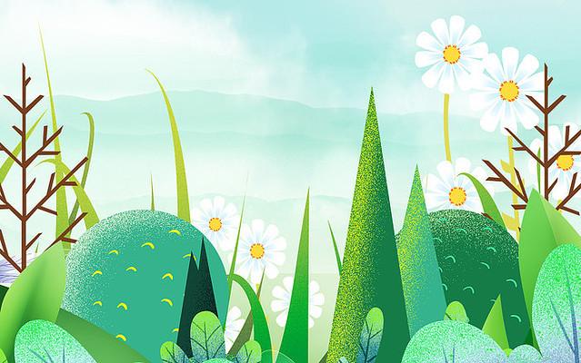 卡通插画植物装饰花朵背景