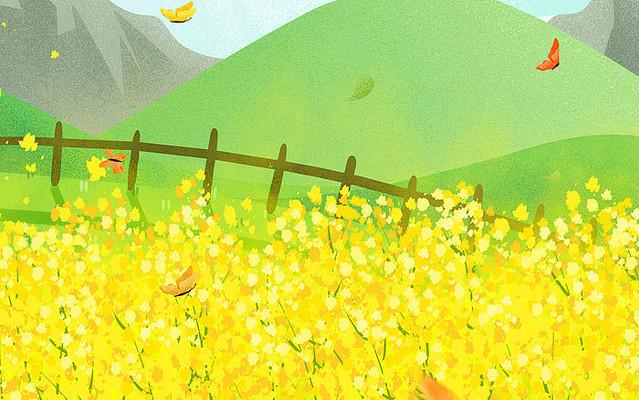 卡通插画植物装饰金色油菜花背景