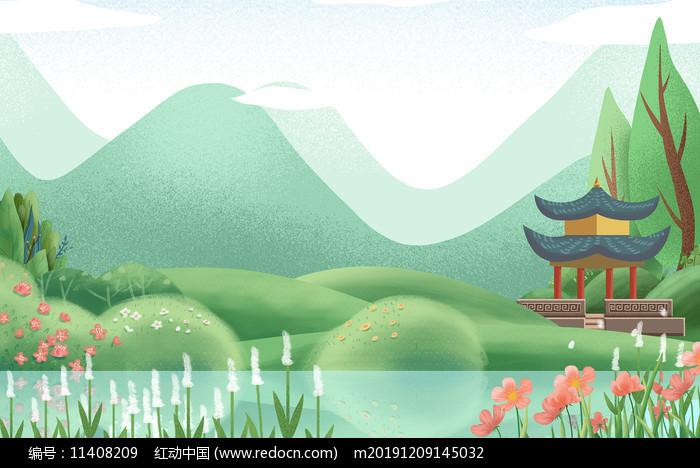 卡通插画植物装饰绿色树木背景图片