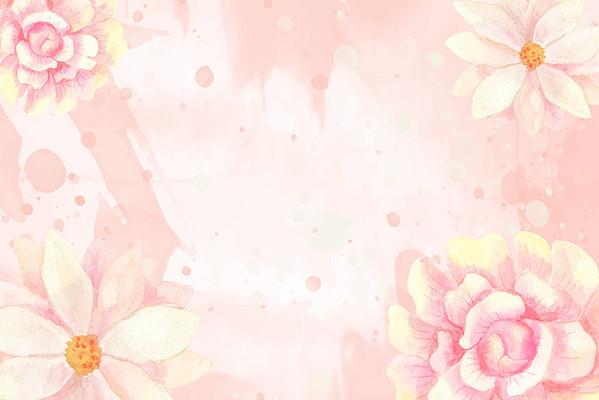 矢量水彩花圈边框素材