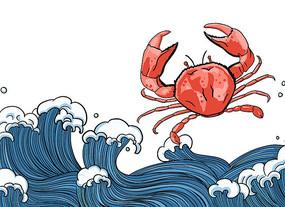 原创国潮大闸蟹海鲜海浪线条插画手绘