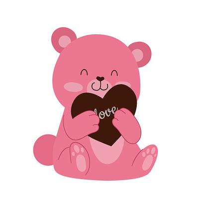 粉色小熊情人节AI素材