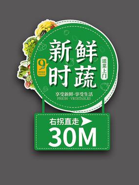 小清新绿色水果超市指引牌