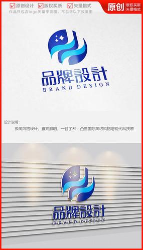 立体科技星空银河logo商标志设计