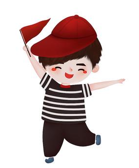 可爱举小红旗的男孩