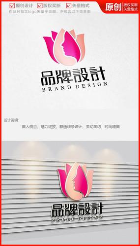 玫瑰花瓣花苞荷花莲花logo商标志设计