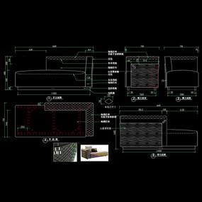 现代家具贵妃位沙发CAD图库
