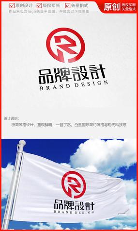 字母R科技金融公司logo商标志设计