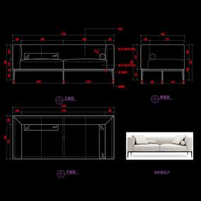 现代布艺沙发CAD家具图纸沙发图库