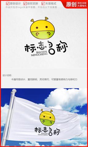 小河马卡通形象可爱品牌logo商标志设计