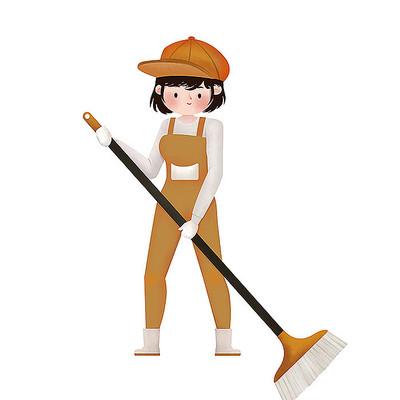 原创扫地女孩劳动节素材