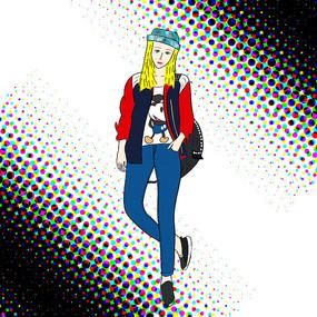 原创手绘人物时尚女郎背包插画