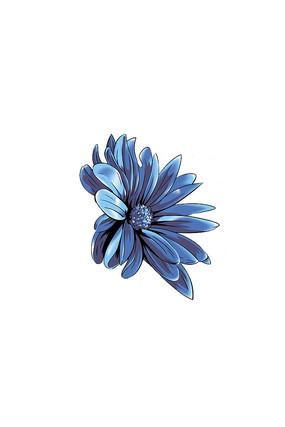 蓝色花卉插画