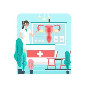 女性健康护理子宫手绘插画