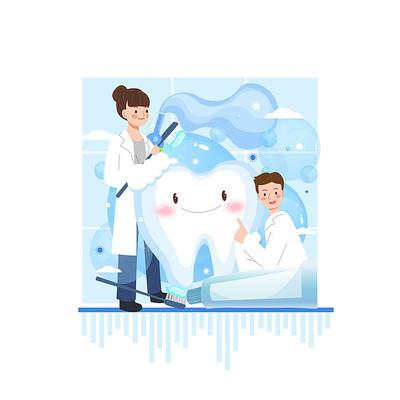 医疗牙齿健康手绘插画