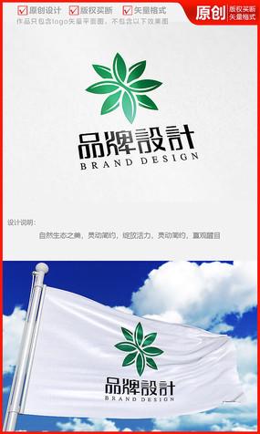 多肉绿叶八方花朵logo商标志设计