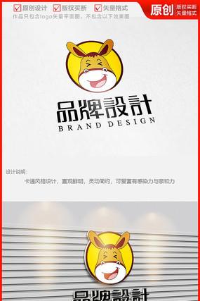 驴肉火烧驴头可爱卡通餐饮品牌logo