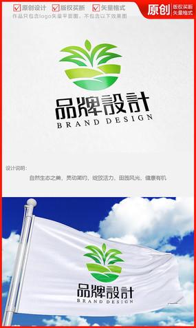 绿叶花卉种植植物盆栽多肉logo商标志