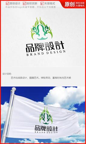 图腾图案面具logo商标志设计
