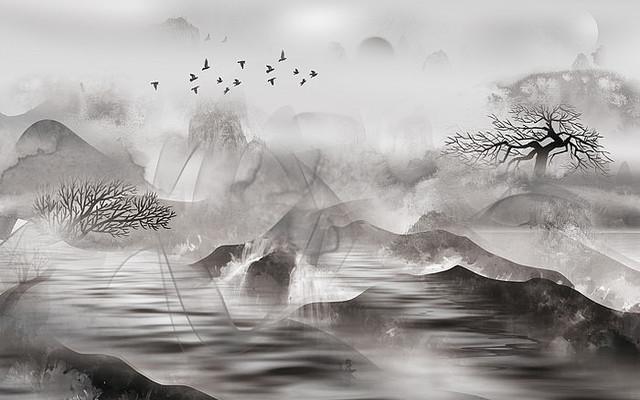 抽象高清新中式山水背景墙