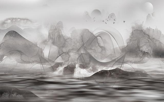 抽象新中式山水背景墙