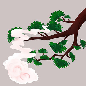 松树手绘插画
