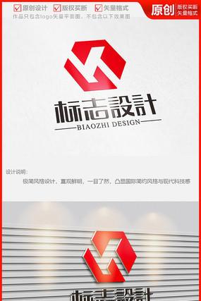 立体科技六边形机电设备字母K公司logo