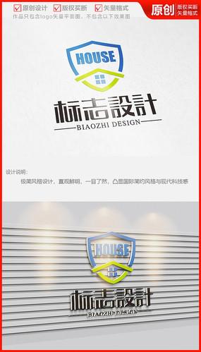 房地产盾牌建筑房屋中介公司logo商标志