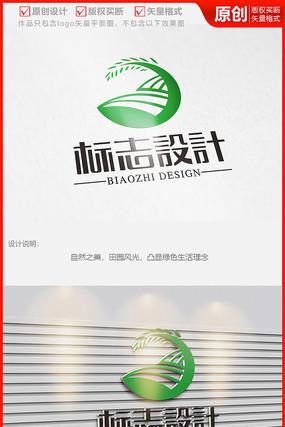绿色麦田稻田大米五谷粮油农业公司logo