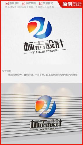 字母DJ科技公司企业logo商标志设计