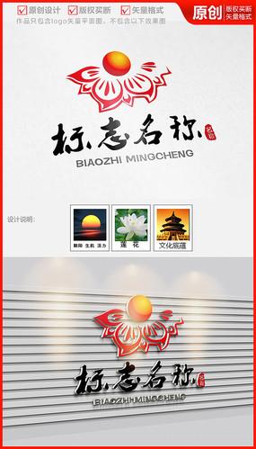朝阳旭日中国风古典花纹图案logo商标志