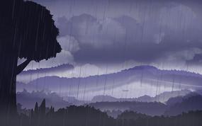 乌云密布的天气插画