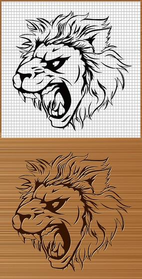 雄狮狮头侧面矢量图