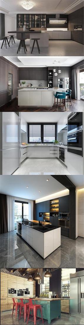 时尚3D开放厨房橱柜模型