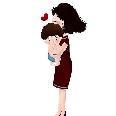抱着婴儿的母亲原创插画