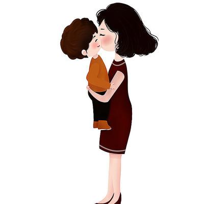 妈妈抱小孩母亲节素材