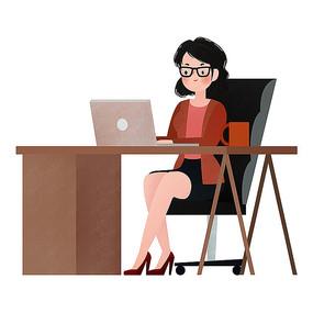 原创笔记本电脑办公美女